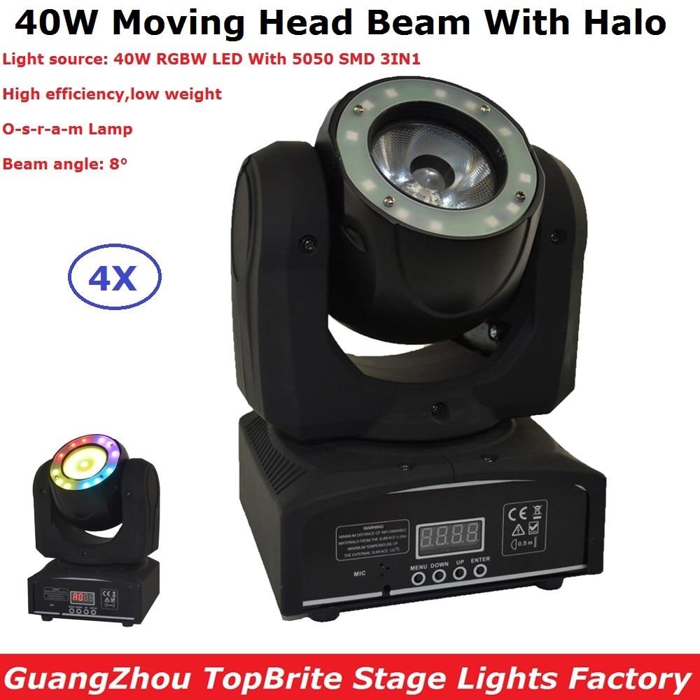 4XLot DHL Ship 40W LED Moving Head Lights RGBW 4IN1 DMX512 LED Moving Head Beam Effect Lights 100-240V Dj Lighting Equipments brighter than phlatlight 60w led chip module cst90 ssd90 60w led moving head lights source 6500k 3000 lumen