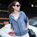 Hot Sell Brand Designer Hooded Denim Jacket Women 2016 Autumn Harajuku Retro Outerwear Womens Denim Jacket Zipper Jeans Jackets