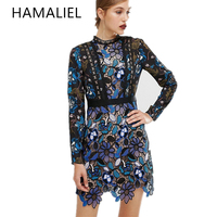 Self Portrait Spring Women Party Dress 2017 Runway Vintage Lace Patchwork Print Flower Long Sleeve Stand