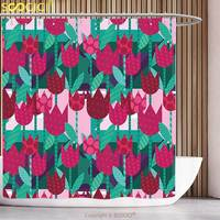 Unique Shower Curtain Floral Abstract Art Flower Polka Dotted Tulips On Geometric Background Illustration Jade Green