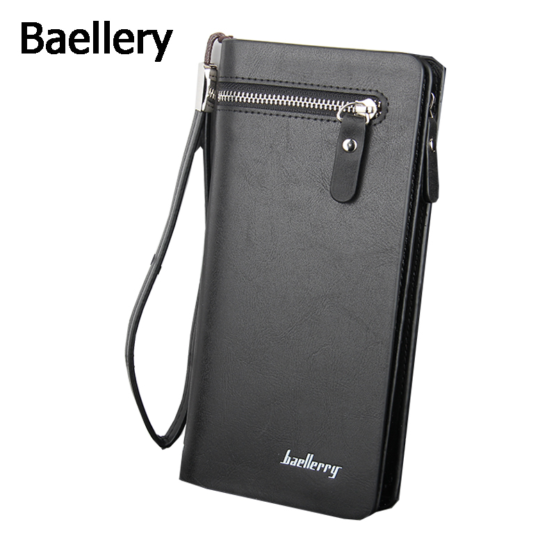 Baellery Classic Vintage Male Hasp Long PU Leather Wallet Business Man Purse Card Holder Male Clutch for Men business men clutch bags classic wallet genuine leather male cell phone purse long style card holder clutch bags