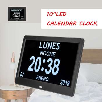 "10"" LED Large Time Wall Clock With Digital Wall Clock Time Calendar Day Week Month Year Calendar Nightlight For Home Living Room"