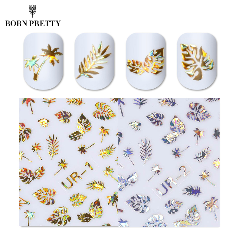 1pc 3D Nail Sticker Holographic Gold Metallic Adhesive Transfer Decals Coconut Tree Leaf Manicure Stickers Nail Art Decorations