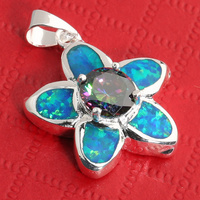 Flower Rainbow Stone Cool For Womens 18*18mm Blue Opal Silver Pendant P9006