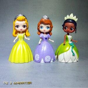 Image 3 - 6個冷凍エルザ白雪姫プリンセス変更服人形ドレス置物アニメアクションフィギュア女の子のおもちゃ誕生日ギフト