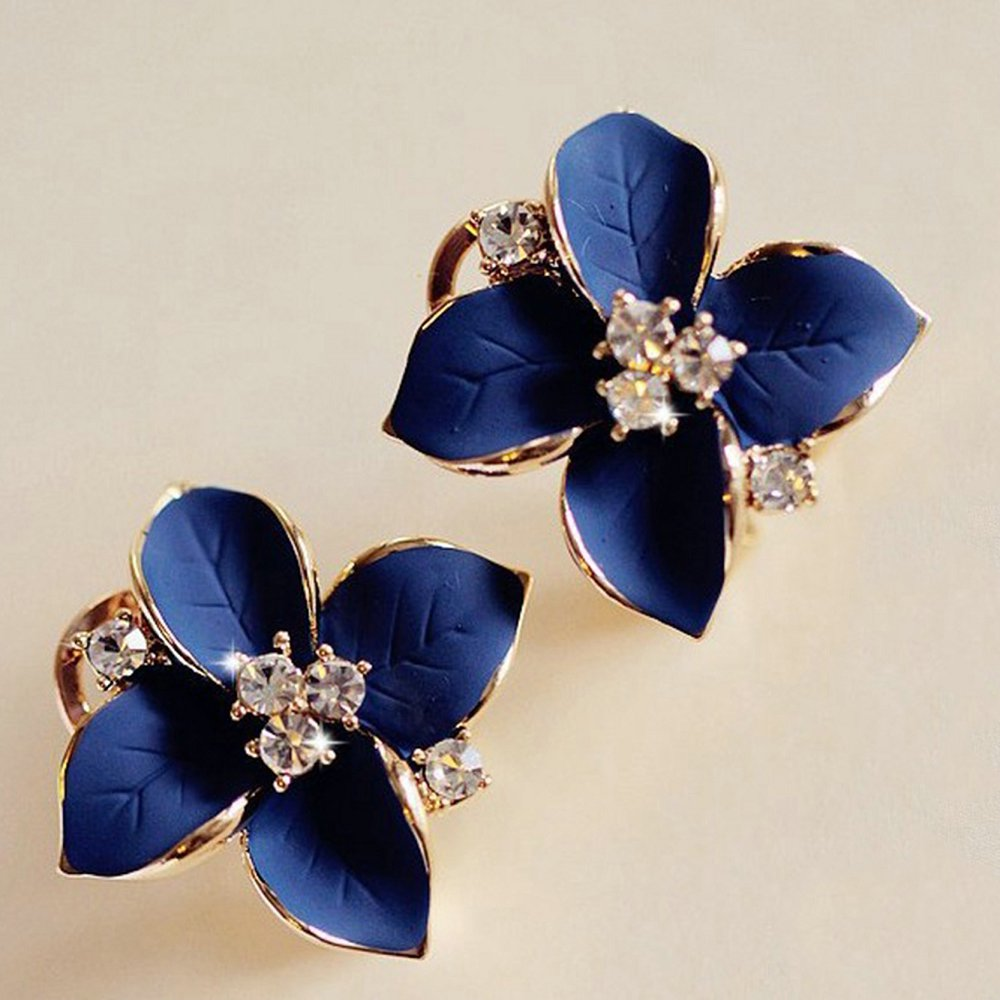 Crystal Gardenia Gold Flower Stud Earrings Top Quality Gold Earrings for Women Fashion Jewelry Summer Style Best Gift 3 Colors