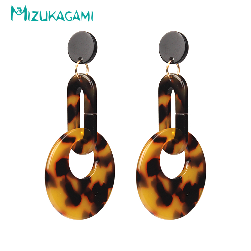 Pendientes Mujer Earings Tortoiseshell/white Round Circle Drop Earrings Resin Material For Women Elegant Design Jewelry alloy bead chain circle drop earrings