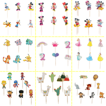 24PCS Cartoon Minnie Mickey Unicorn Cupcake Toppers Birthday Party Decorations Kids Baby Shower Party cake decorating tools 24pcs lot cartoon easter bunny flowers cupcake toppers cute white rabbit cake pick hat party decorations baby birthday wedding
