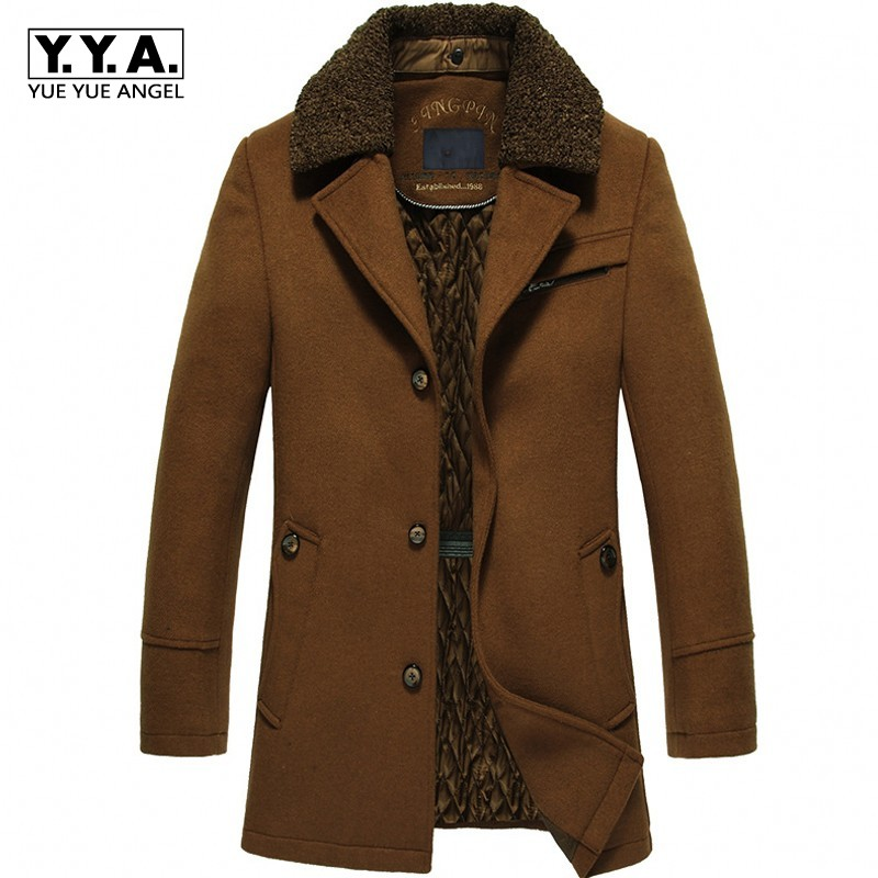 YUNY Mens Pure Colour Winter Thicken Warm Down Jackets Brown 4XL