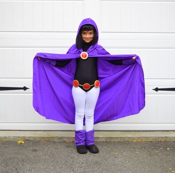 Deluxe Kids&Adult Girls Dress like Teen Titan Raven Costume for Cosplay & Halloween 4pcs/1set birthday party costume 1