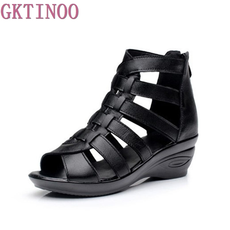 2017 Women Genuine Leather Shoes Gladiator Wedges Woman Sandals Summer Hollow Out Ladies Sandal choudory bohemia women genuine leather summer sandals casual platform wedge shoes woman fringed gladiator sandal creepers wedges