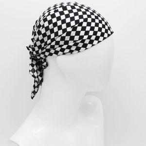 55x55cm White Black Checkered Flag Racing Bandana Unisex Multi-Use Square Headband Motorcycle Outdoor Sports Hair Wrap Wristband