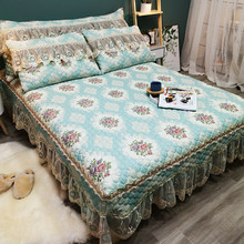 New Luxury European Style Green Lace Bedding Set 3pcs Jacquard Bedspread Bed sheet Linen Pillowcases Size Can Be Customized