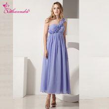 Alexzendra Light Blue Chiffon One Shoulder Prom Dresses Tea Length Party Dress  Evening Dresses Plus Size 36f0370700af