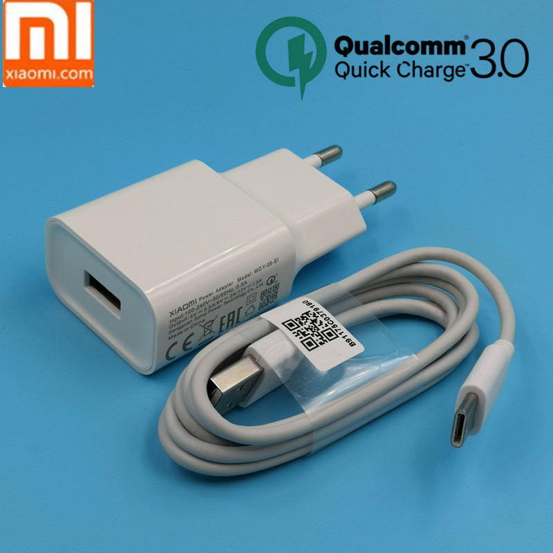 xiaomi mi mix 3 Charger QC 3.0 quick charge power Adapter for XIAOMI mi 8 6 a1 a2 5 5s mi8 mi5 mix 2s MAX 3 2 Usb type c cable