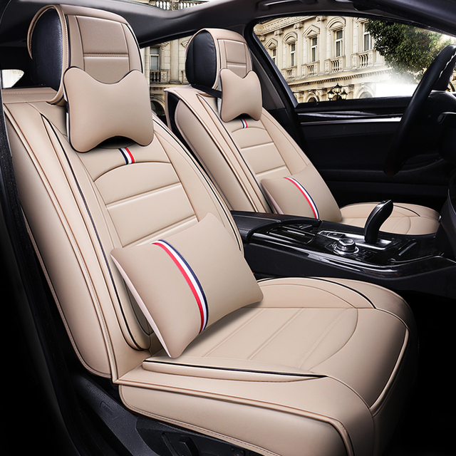 OUMANU Universal 5 seats leather car seat cover airbag enable for ford focus 2 honda civic bmw e46 audi car accessories