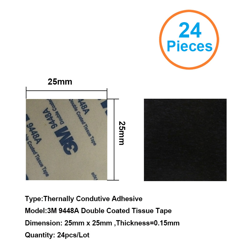 24pcs 3M9448A 25x25x0.15mm Double Coated Tissue Tape Thermally Conductive Adhesive Thermal Pad For Heat Sink Heatsink Radiator