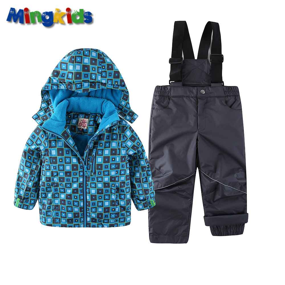 Mingkids Snowsuit Boy Ski set Outdoor Winter spring autumn Warm Snow Suit waterproof windproof padded European Size plaid mingkids boy outdoor jumpsuit kombinezon ski overalls warm windproof waterproof toddler rompers autumn spring europe