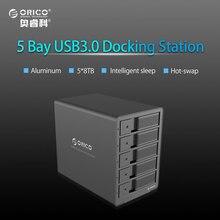 ORICO Tool Free Aluminum USB 3.0 5 bay 3.5-inch SATA Hard Drive Enclosure Support 5x 8TB Drive Black (9558U3)