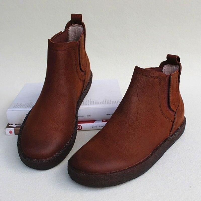 รองเท้าผู้หญิง 2018 ผู้หญิงรองเท้าข้อเท้า 100% ของแท้หนังสีดำรองเท้าผู้หญิงฤดูใบไม้ร่วงรองเท้า (953)-ใน รองเท้าบูทหุ้มข้อ จาก รองเท้า บน   1