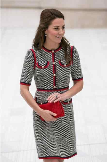 Kate Middleton Tweed Vrouwen Jurk Vestidos Dikke Draad Houndstooth Patchwork Jurken Ronde Hals Korte Mouw Slanke Jurk Vrouwelijke
