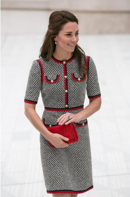 Kate Middleton Tweed femmes robe Vestidos épais fil pied-de-poule Patchwork robes col rond manches courtes Slim robe femme