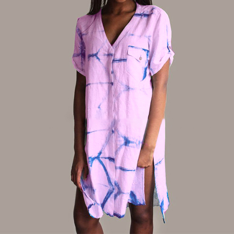 Summer Short Sleeve V neck Dress Women Casual Button Sun Holiday Dress Plus Size in Dresses from Women 39 s Clothing