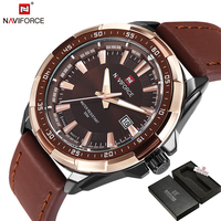 NAVIFORCE Brand Men S Fashion Casual Sport Watches Men Waterproof Leather Quartz Watch Man Military Clock