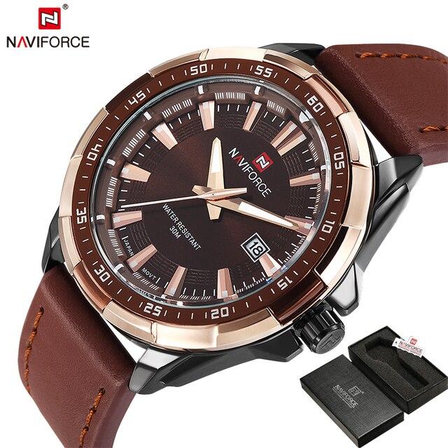 Naviforce оригинальный бренд мода Для мужчин часы кварцевые часы Для мужчин Водонепроницаемый наручные часы Военная Униформа часы Relogio Masculino