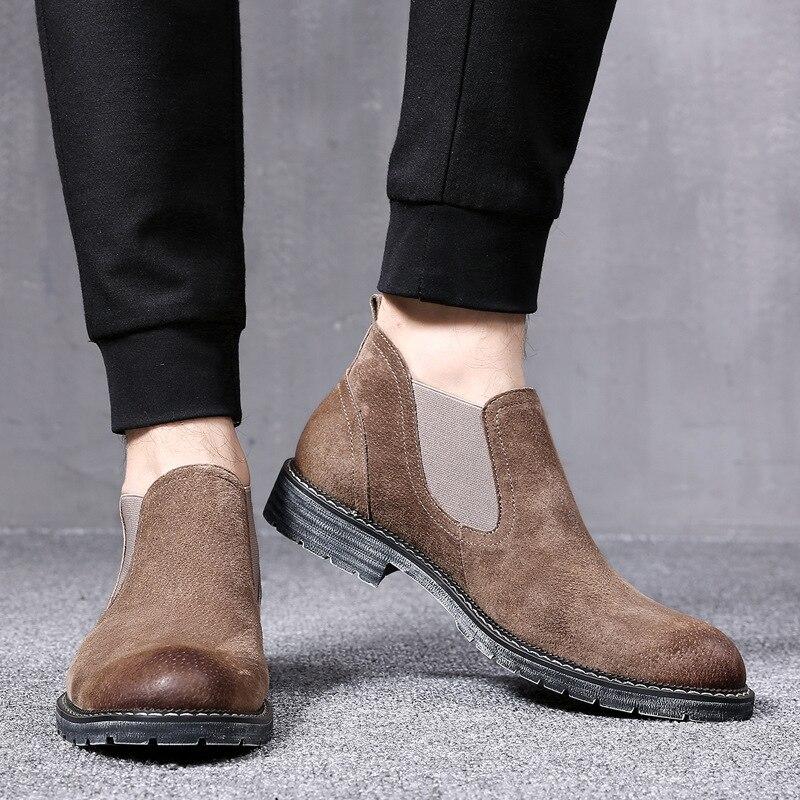 Haute Martin Aider En jaune Bottes Les Hommes Brown Pour Chaussures De Cuir Chaussons noir Dark Chelsea n48IUZY
