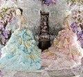 Vestidos de 15 Anos rosa Ruffle Applique Handmade flor querida Debutante vestido Quinceanera longo