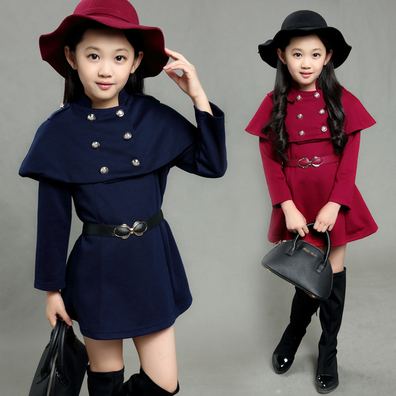 New design children clothing belted girls winter clothes auburn navy girls dresses winter 2016 auburn