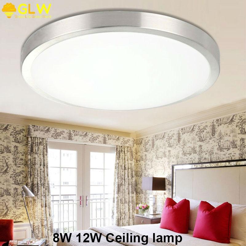 GLW nouveau rond 8W 12W 110V 220V plafonnier pour salon Lampara Techo Led plafond Surface monté toilette cuisine étude lumière