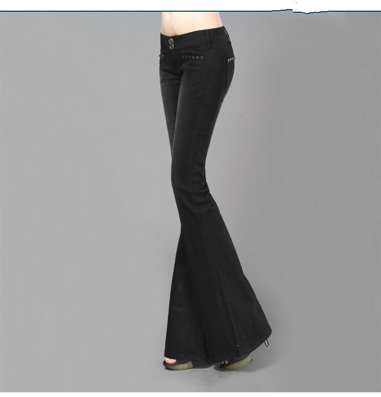 2016 Spring and Autumn New Fashion Slim Hip Low Waist Flare Pants Vintage Black Denim Jeans