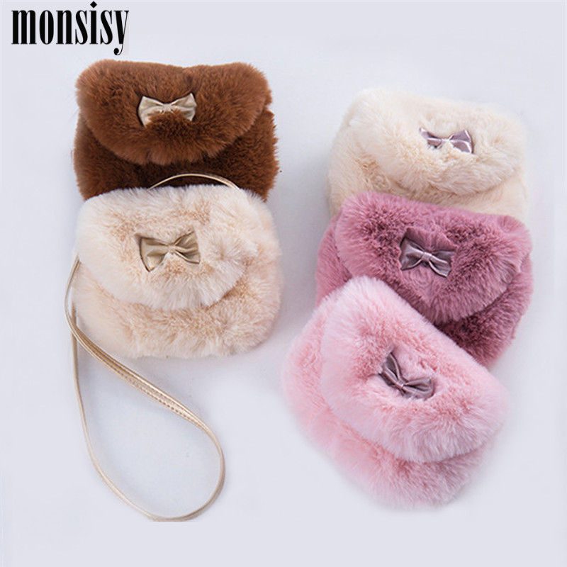 Monsisy Winter Faux Fur Girl Coin Purse Children's