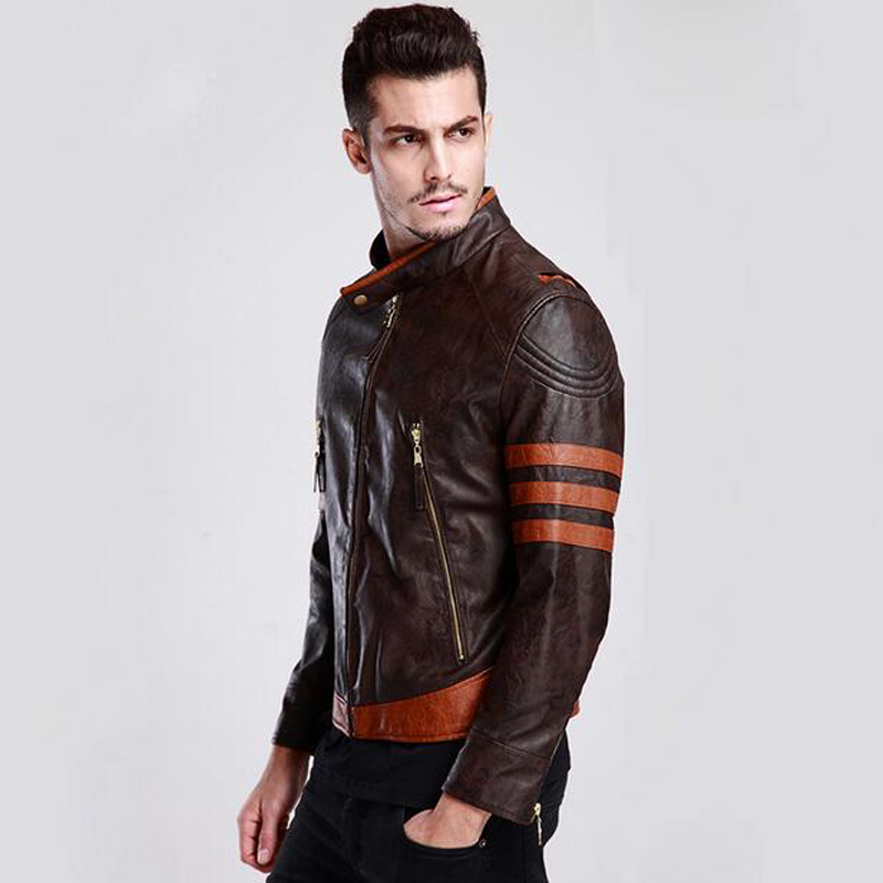 a0f4eb425 Cosplay Clothing Stage Wear Men's Faux Leather Jackets 2017 Vinatage  Leather Suede Short Wolverine Logan Motorcycle Jackets C365-in Faux Leather  Coats ...