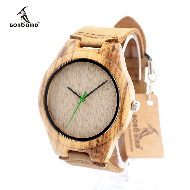 Luxury Brand BOBO BIRD Men's Wooden Watch Quartz Real Leather Strap Men Watches With Gift Box Wristwatch Relogio Masculino bobo bird mens watch red sandalwood analog wooden quartz wrist watches with luxury watch famous brand in gift box free shipping