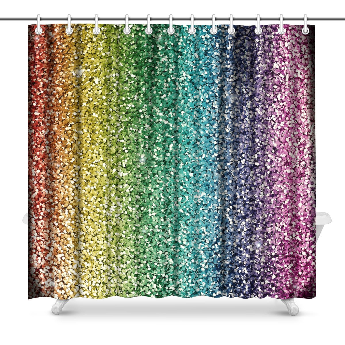 Ariel Shower Curtain Us 34 49 Aplysia Rainbow Glitter Background Polyester Fabric Bathroom Shower Curtain Set With Hooks 72 X 72 Inches In Shower Curtains From Home