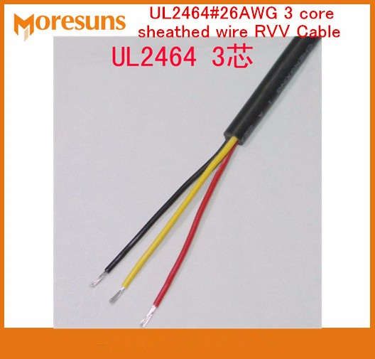 Free Ship by DHL/EMS 200m/roll UL2464#<font><b>26AWG</b></font> <font><b>3</b></font> <font><b>core</b></font> sheathed <font><b>wire</b></font> RVV Cable signal <font><b>wire</b></font>/7/0.14 tin plated Copper <font><b>wire</b></font> image