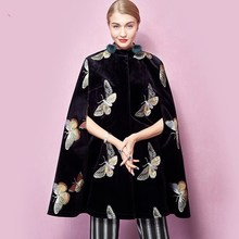 2017 Autumn Women Vintage Black Butterfly Embroidery Half Sleeve Single Breasted Velvet Cape Coat(China)