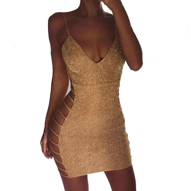 Women Summer Sexy Dress 2018 Sleeveless Spagetti Strap Slim Fit Mini Dress  Evening Party Bodycon Dress 926f07d32dd0
