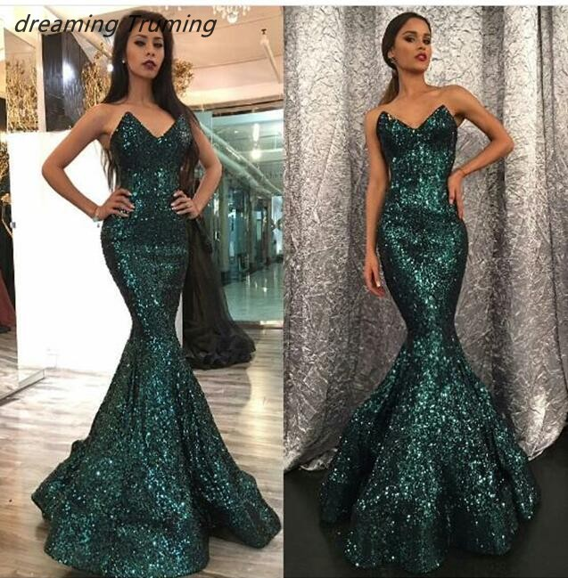 Shiny Emerald Green Mermaid   Prom     Dresses   Sequined Sweetheart Sleeveless Long Evening Party Gowns Red Carpet Vestido De Festa