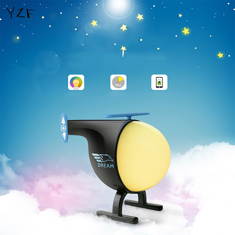 New colorful led baby helicopter night light lamp usb charging touch sensor timer nightlights - Timer night light for toddlers ...