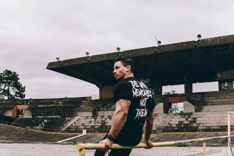 YEMEKE New Men Short Sleeve Cotton t-shirt Summer Casual Fashion Gyms Fitness Bodybuilding T shirt Male Slim Tees Tops Clothing 5