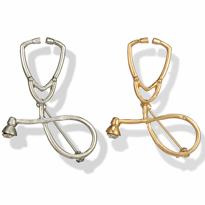 Stetoskop Bros, Fashion Medis Perhiasan Emas Stetoskop Pin untuk Perawat Dokter Mahasiswa Kedokteran Hadiah Kelulusan 1 Pc