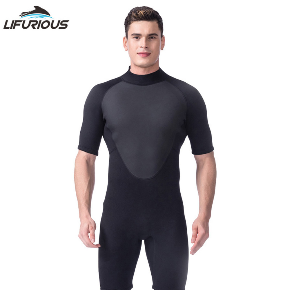 LIFURIOUS One-piece Diving Suit Men Wetsuits 3mm Neoprene Short Pants Diving Wetsuit Surf Waterproof Beach Clothes Spearfishing spearfishing wetsuit 3mm neoprene scuba diving suit snorkeling suit triathlon waterproof keep warm anti uv fishing surf wetsuits