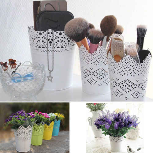 1Pcs Cute Lace Floral Plant Flower Vase Pot Pen Makeup Brush Storage Boxes Bin Holder Desk Organizer Case Container Cases