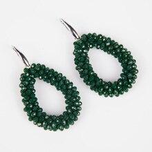 2017 New Color Water Drop Earrings for Women Faceted Beads Handmade Crystal Earring Big Earrings Long Earrings vintage WHOLESALE
