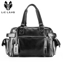LIELANG Leather handbags Business Men Designer Messenger Bag Men's Travel Bags 15 inch Laptop Briefcase Bag(China)