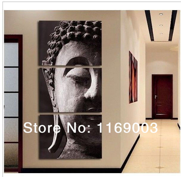 large modern 3 piece buddha canvas wall art picture oil painting on the wall only canvas : large modern canvas wall art - www.pureclipart.com